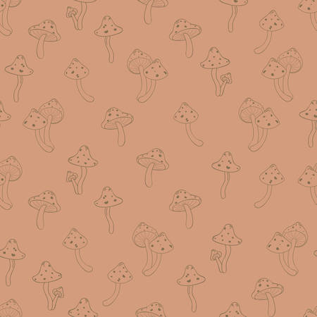 'fly agaric': Autumn seamless pattern with toadstool, amanita, fly- agaric mushroom contours. Cute cartoon doodle style for kids. Vector background, orange, brown, terracota color palette.
