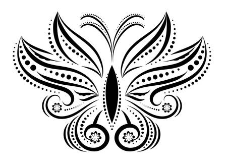 twirls: Fantasy flying butterfly ornamenttattoo,  silhouette. Black swirls and twirls isolated on white background. Two wings, front view.
