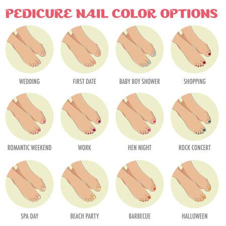 Opcje kolorów paznokci pedicure. Infografika dla salon piękności pokazujące style dla różnych zdarzeń: ślub, pierwsza randka, baby shower, praca, wieczór kura. Szablon do broszur, stron internetowych. Ilustracje wektorowe