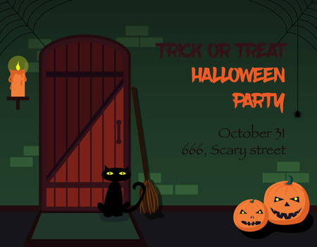 wood spider: Trick or treat Halloween party invitation. The interior of the witch house with broom, candle, pumpkins and black cat, decorated for Halloween. Old front door made of wood. Vector illustration. Illustration