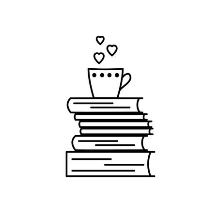 magazine stack: Book love icon. Black and white vector isolated, linear sign. We like books symbol for stores, libraries, collections. I like to read pictogram showing stack of books and mug. Hearts instead of steam