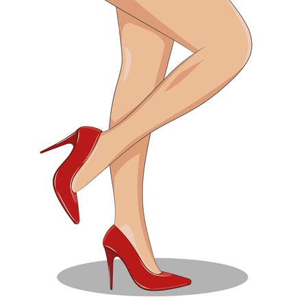 Slender female legs with red fashionable shoes on, side view, standing. High spike heels, pointed toecaps. Vector illustration isolated. Cartoon style. Feminine, glamour or medicine concept.