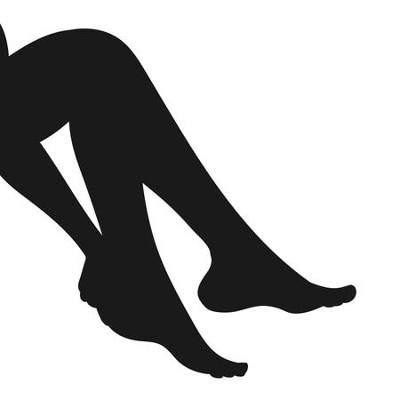 waxing: Vector silhouette of slender female legs, barefoot, side view, playful sexy posture. Woman hand touching ankle. Foot care, waxing, epilation, spa, stockings icon. Isolated on white background. Illustration