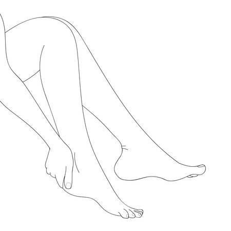 woman foot: Slender female legs, barefoot, side view. Cartoon style, hand drawn. Feminine concept, design element for spa, medical centers, cosmetic products. Black and white vector illustration, isolated.