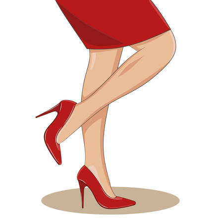 Slender female legs with red fashionable shoes and skirt on, side view, standing. High spike heels, pointed toecaps. illustration isolated. Cartoon style. glamour or medicine concept.