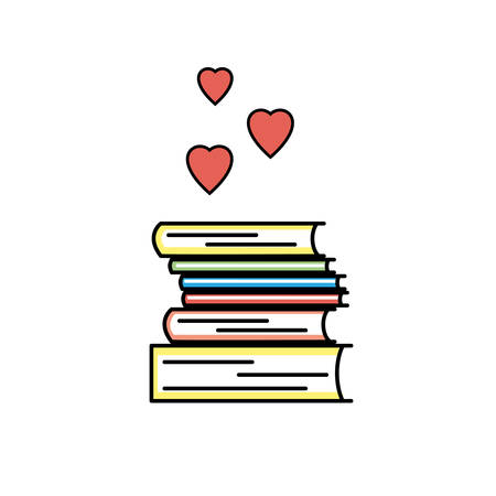 Book love icon. Colored isolated, linear sign. We like books symbol for stores, libraries and collections. I like to read pictogram showing pile of books and heart shapes.