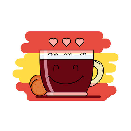 hot couple: Colored flat line icon, kawai style. Smiling glass cup of coffee with cream and round cookie beside. Hearts symbols instead of steam. Coffee lovers concept. Pixel perfect vector illustration, web sign Illustration