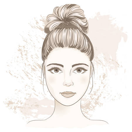 Young woman face. Digital monochrome sketch portrait of beautiful girl with fancy hair bun. Vector illustration, layered. Template for medicine, cosmetology infographic and design. Cute cartoon style.