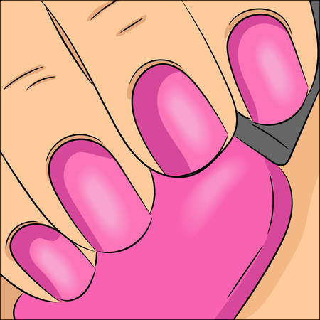 Closeup view of fingernails swatch. Neat manicure vector illustration, black and white. Female hand holding nail polish bottle. Concept for beauty salon infographic and design. Cute comics style.