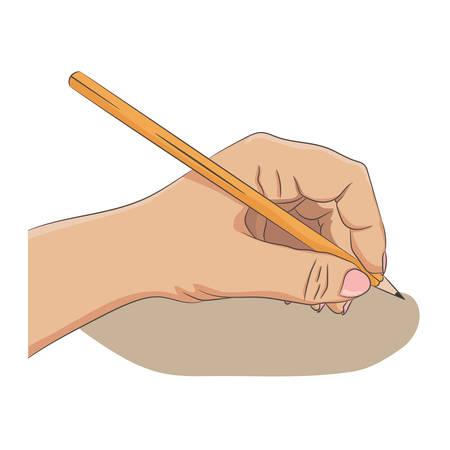 Pisanie po lewej stronie lub rysowanie czegoś. Koncepcja osoby niewiele. Kobieta dłoni trzymającej ołówek. Cartoon stylu, kolorowe, samodzielnie na białym tle. Ilustracji wektorowych.
