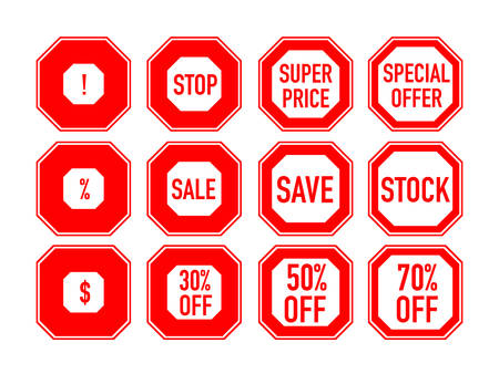 Set of marketing markers. Sale, clearance, stock, super price, discount, special offer, 30%, 50%, 70% off signs. One-color stickers for merchandizing, web sites, prints, flyers. Vector illustration