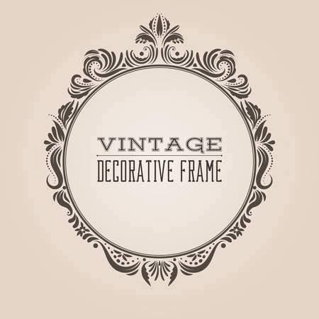 Round vintage ornate border frame with retro pattern, victorian and baroque style decorative design. Simple elegant circle frame shape with swirls for labels, logo and pictures. Vector illustration. Иллюстрация