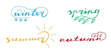 Four season ink lettering words - winter, spring, summer, autumn. With decorative swirls - snowfall, leaf, sun, drop. Vector isolated on the white background.