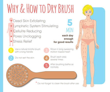 Skin dry brushing infographic. Instruction layout for health, beauty, spa business & media Vettoriali