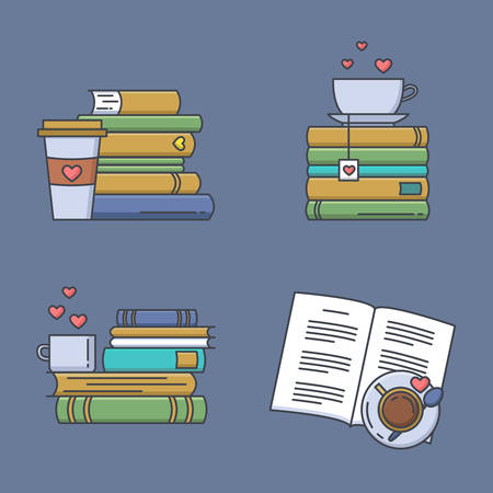 Set of colored icons for book fans. Book stacks, coffee or tea mugs and paper cups. Heart elements as steam, tea tag or cookie. I love to read concept. Vector isolated, linear style.  イラスト・ベクター素材