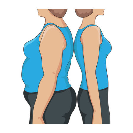 Thick and thin overweight problem concept. Two women standing back to back, with fat and lean abdomen, arm and hips, side view. Before and after diet, fitness, liposuction.Vector illustration isolated Illustration