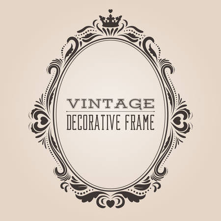 Oval vintage ornate border frame, victorian and royal baroque style decorative design. Elegant oval frame shape with crown, hearts and swirls for labels, logo and pictures. Vector illustration.