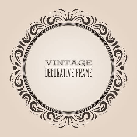 Round vintage ornate border frame, victorian and royal baroque style decorative design. Elegant frame shape with crown, hearts and swirls for labels, logo and pictures. Vector illustration.