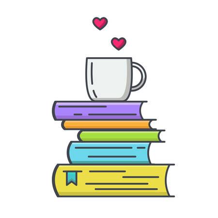 Farbige Linienikone des Stapels der Bücher und des Tees oder der Kaffeetasse mit Herzsymbolen. Ich liebe, Konzept für Bibliotheken, Buchhandlungen und Schulen zu lesen. Vektor-Illustration isoliert.