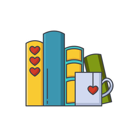 Colored line icon of pile of books and tea or coffee cup with heart symbols. I love reading concept for libraries, book stores and schools. Vector illustration isolated.