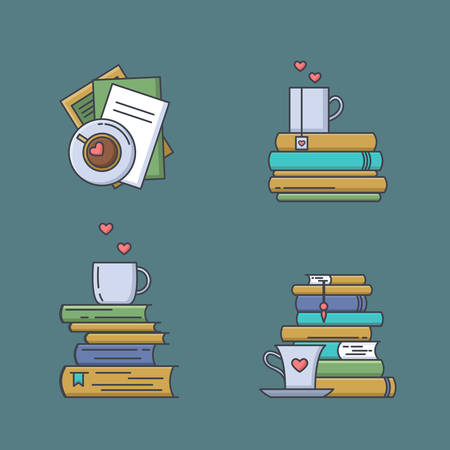 Set of colored icons for book fans. Book stacks, coffee or tea mugs and paper cups. Heart elements as steam, tea tag or cookie. I love to read concept. Vector isolated, linear style. Illustration