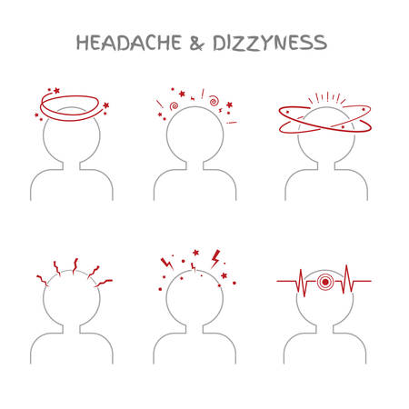 Set of headache and dizziness signs for medical and healthcare illustrations. Icons showing vertigo, vestibular problems, sickness and nausea. Vector elements, isolated on white.
