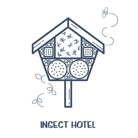 Insect hotel - decorated wood house with compartments and natural components. Home for garden useful pests like ladybugs, bees, butterflies, spiders. Vector illustration, flat style isolated on white Illustration
