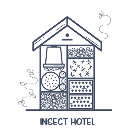 Insect hotel - decorated wood house with compartments and natural components. Home for garden useful pests like ladybugs, bees, butterflies, spiders. Vector illustration, flat style isolated on white  イラスト・ベクター素材