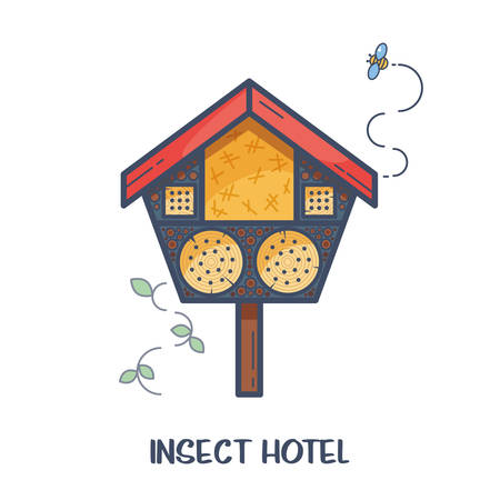 Insect hotel - decorated wood house with compartments and natural components. Home for garden useful pests like ladybugs, bees, butterflies, spiders. Vector illustration, flat style isolated on white Vectores