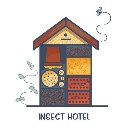 곤충 호텔-구획과 자연 구성 요소로 장식 된 목조 주택. 무당 벌레, 꿀벌, 나비, 거미와 같은 정원 유용한 해충의 집. 벡터 일러스트 레이 션, 평면 스타일 화이트 절연 스톡 콘텐츠 - 96442244