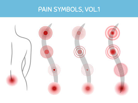 Set of pain markers for illustrations, medical and healthcare themed designs. Assorted icons showing pain focus, trigger points and painful areas of body. Vector elements, isolated on white.