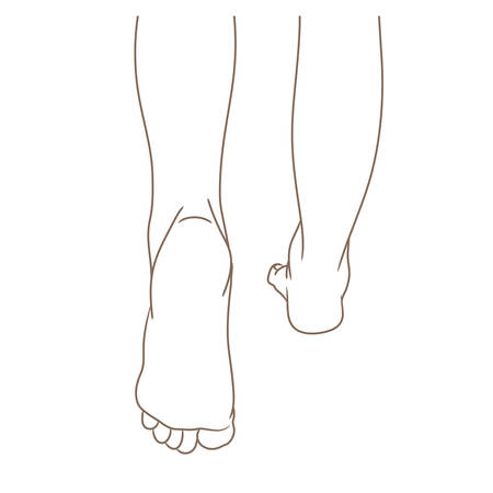 Female legs barefoot, back view, walking. Vector illustration, hand drawn cartoon style isolated on white, black and white contour