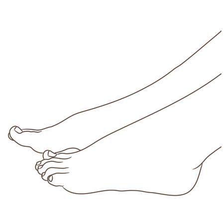 Jambes féminines pieds nus, vue latérale. Illustration vectorielle, style cartoon dessiné à la main, isolé sur un contour blanc, noir et blanc