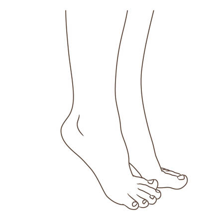 Female legs barefoot, side view. Vector illustration, hand drawn cartoon style isolated on white, black and white contour