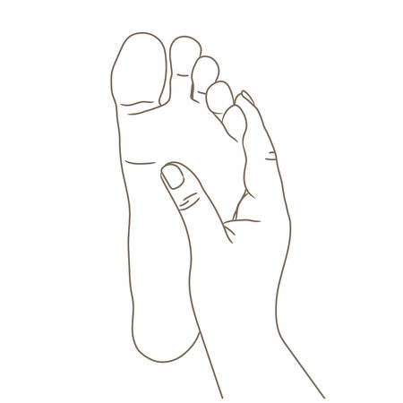 Female or male foot sole, barefoot, bottom view. Vector illustration, hand drawn cartoon style isolated on white, black and white contour Illustration