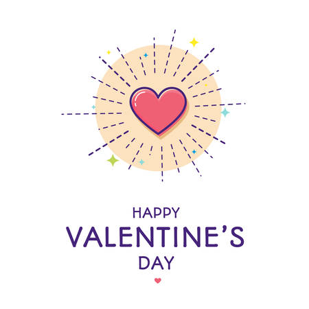 Happy Valentine's day greeting card. Heart shining with love. Modern flat line art, colored. Vector illustration, isolated on white background.