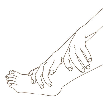 Female legs barefoot with hands holding the ankle, side view. Vector illustration, hand drawn cartoon style isolated on white. Vector Illustration