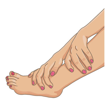 Female legs barefoot with hands holding the ankle, nails colored, side view. Vector illustration, hand drawn cartoon style isolated on white. Illustration