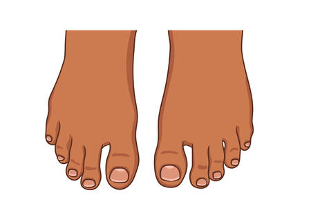 Female or male foot sole, barefoot, top view. Dark afro american skin.Toenails with pedicure.Vector illustration, hand drawn cartoon style isolated on white.