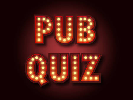 Pub quiz announcement poster. Vintage styled light bulb box letters shining on dark background. Questions team game for intelligent people. Vector illustration, glowing electric sign in retro style. 写真素材 - 102127342