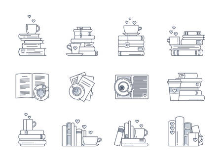 Icon set for book lovers. Book stacks, coffee or tea mugs and paper cups. Heart elements as steam, tea tag or cookie. I love to read concept. Vector isolated, linear style.