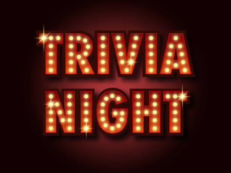 Trivia night announcement poster. Vintage styled light bulb box letters shining on dark background. Questions team game for intelligent people. Vector illustration, glowing electric sign in retro style. Ilustracja