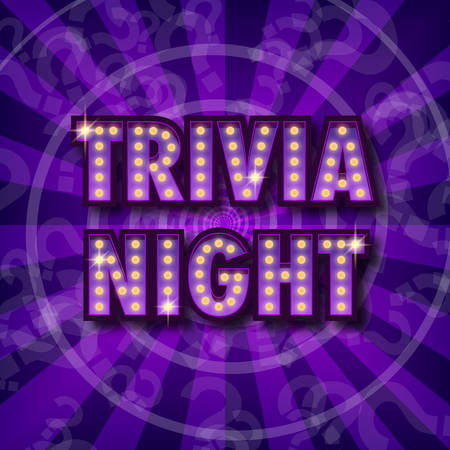 Trivia night announcement poster. Vintage styled light bulb box letters shining on dark background. Questions team game for intelligent people. Vector illustration, glowing electric sign in retro styl  イラスト・ベクター素材