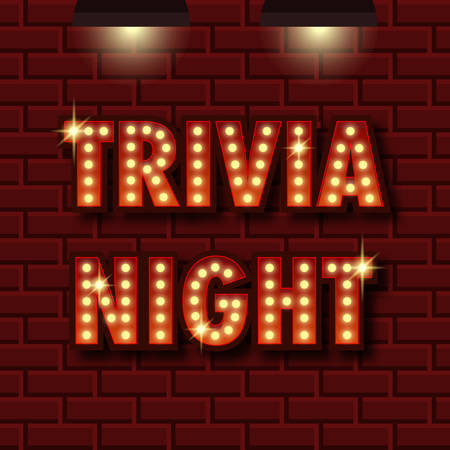 Trivia night announcement poster. Vintage styled light bulb box letters shining on dark background. Questions team game for intelligent people. Vector illustration, glowing electric sign in retro style. Illustration