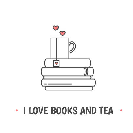 Pile of books and a mug with heart symbols. Quote �I love books and tea�. I love reading concept. Line icon for libraries, stores, festivals, fairs and schools. Vector illustration.