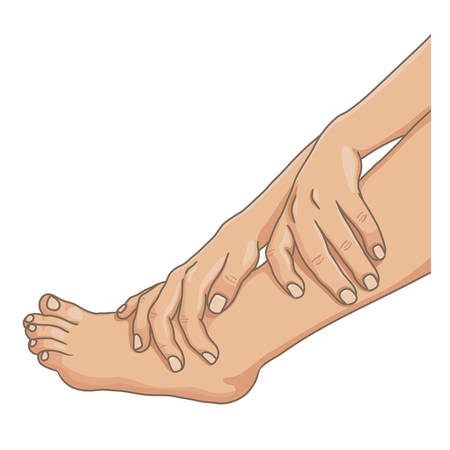 Female legs barefoot with hands holding the ankle, side view. Vector illustration, hand drawn cartoon style isolated on white.