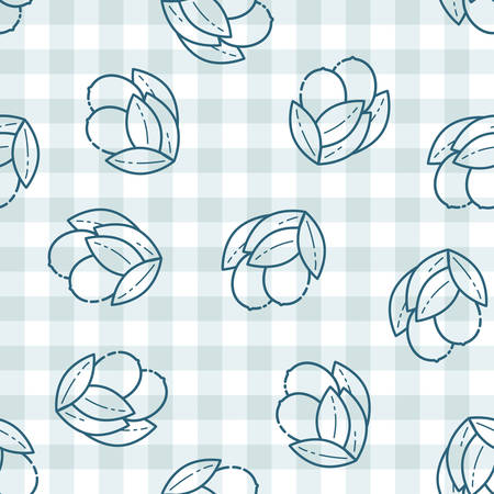 Seamless pattern with lemons, cute flat line style. Background for food themed products: package, kitchen textile and accessories, menu, food markets etc.Vector illustration.