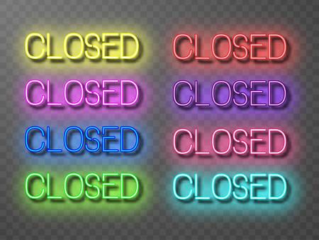 Conjunto de inscripciones de neón cerrado de varios colores. Letras brillantes con efecto brillante sobre fondo transparente. Ilustración de vector aislado, formas de lámpara eléctrica de neón en estilo retro.