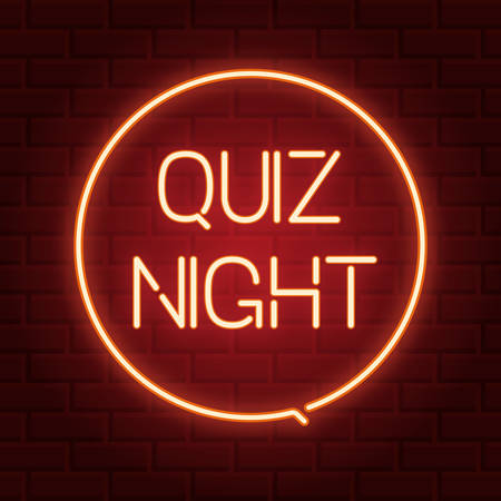 Pub quiz announcement poster, vintage styled neon glowing letters shining on dark brick background. Questions team game for intelligent people.Vector illustration, glowing electric sign in retro style Ilustração