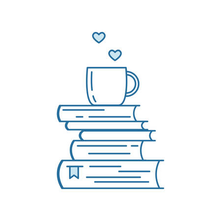 Pile of books and coffee or tea cup with heart symbols. I love reading concept for libraries, book stores, festivals, fairs and schools. Line icon. Vector illustration isolated on white.